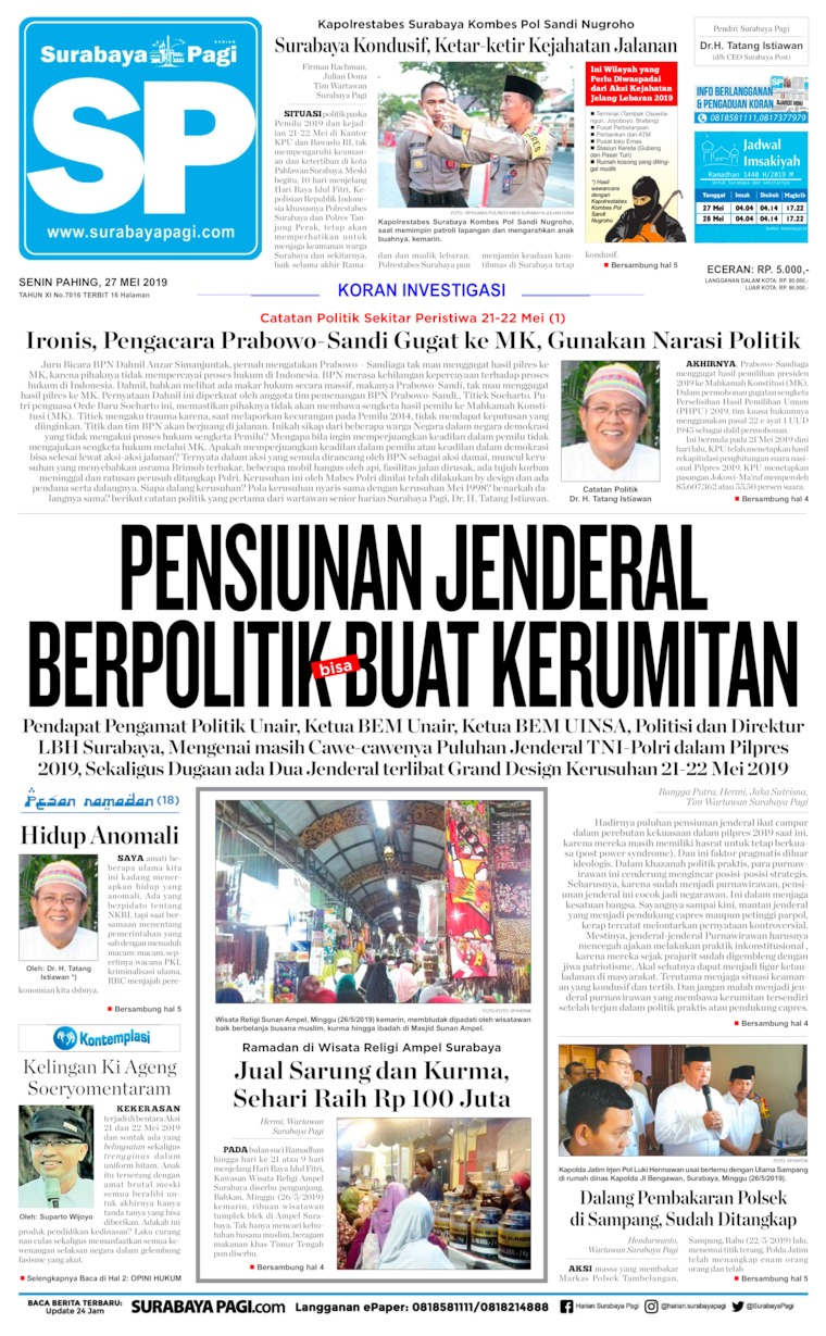 Koran Digital Surabaya Pagi 27 Mei 2019
