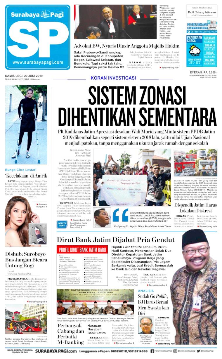 Koran Digital Surabaya Pagi 20 Juni 2019