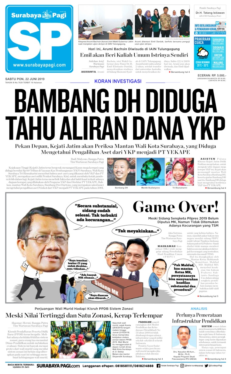 Koran Digital Surabaya Pagi 22 Juni 2019
