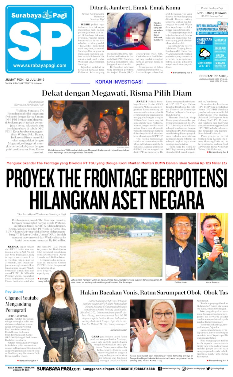 Koran Digital Surabaya Pagi 12 Juli 2019