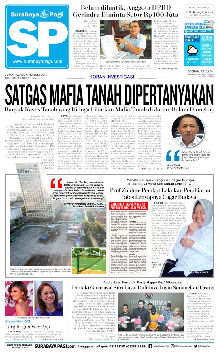 Koran Digital Surabaya Pagi 19 Juli 2019