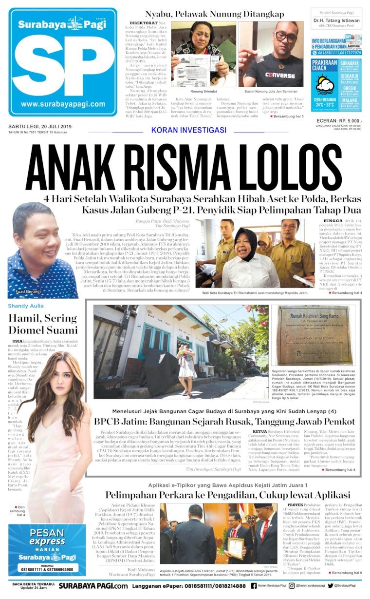 Koran Digital Surabaya Pagi 20 Juli 2019