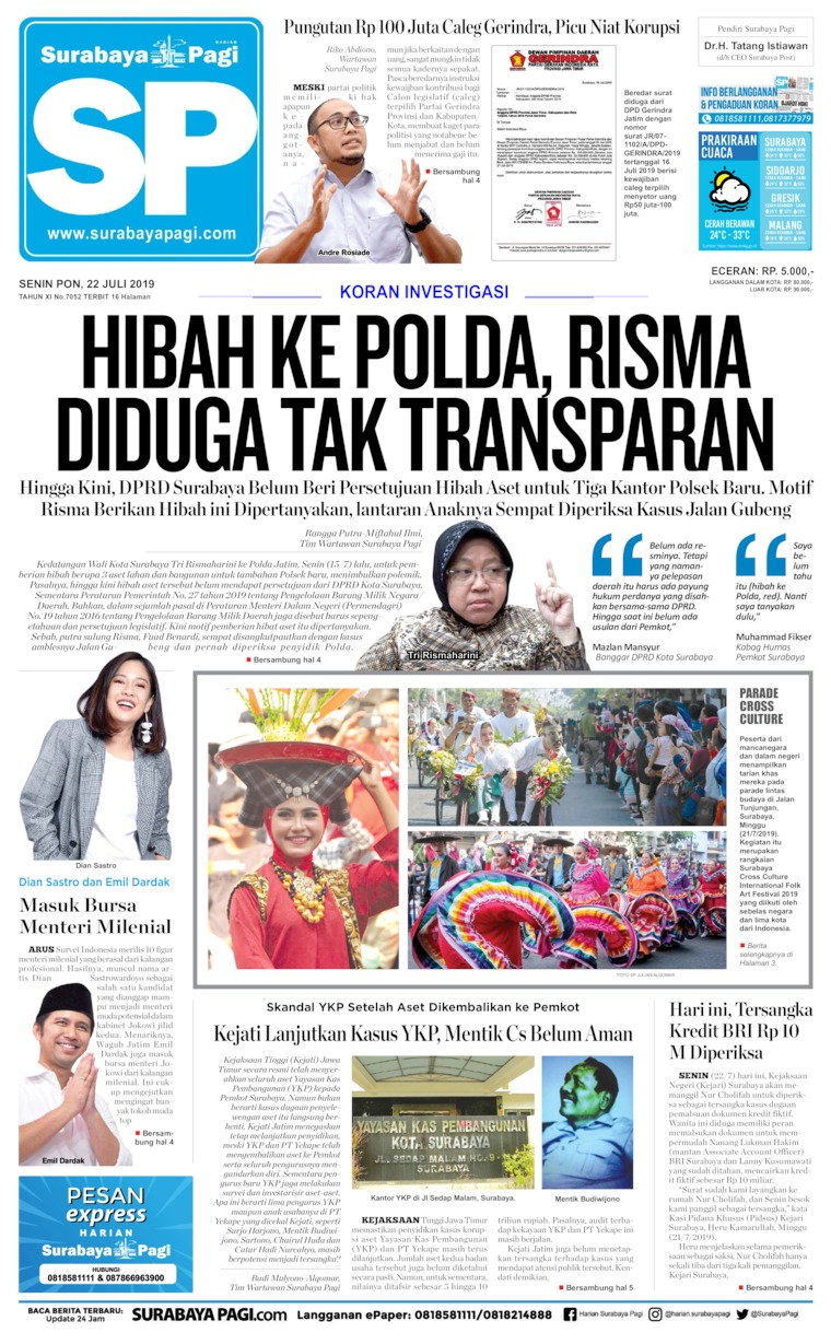 Surabaya Pagi Digital Newspaper 22 July 2019