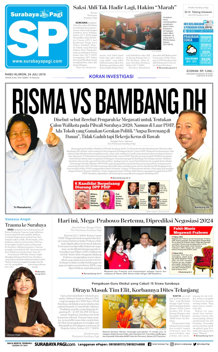 Surabaya Pagi Digital Newspaper 24 July 2019