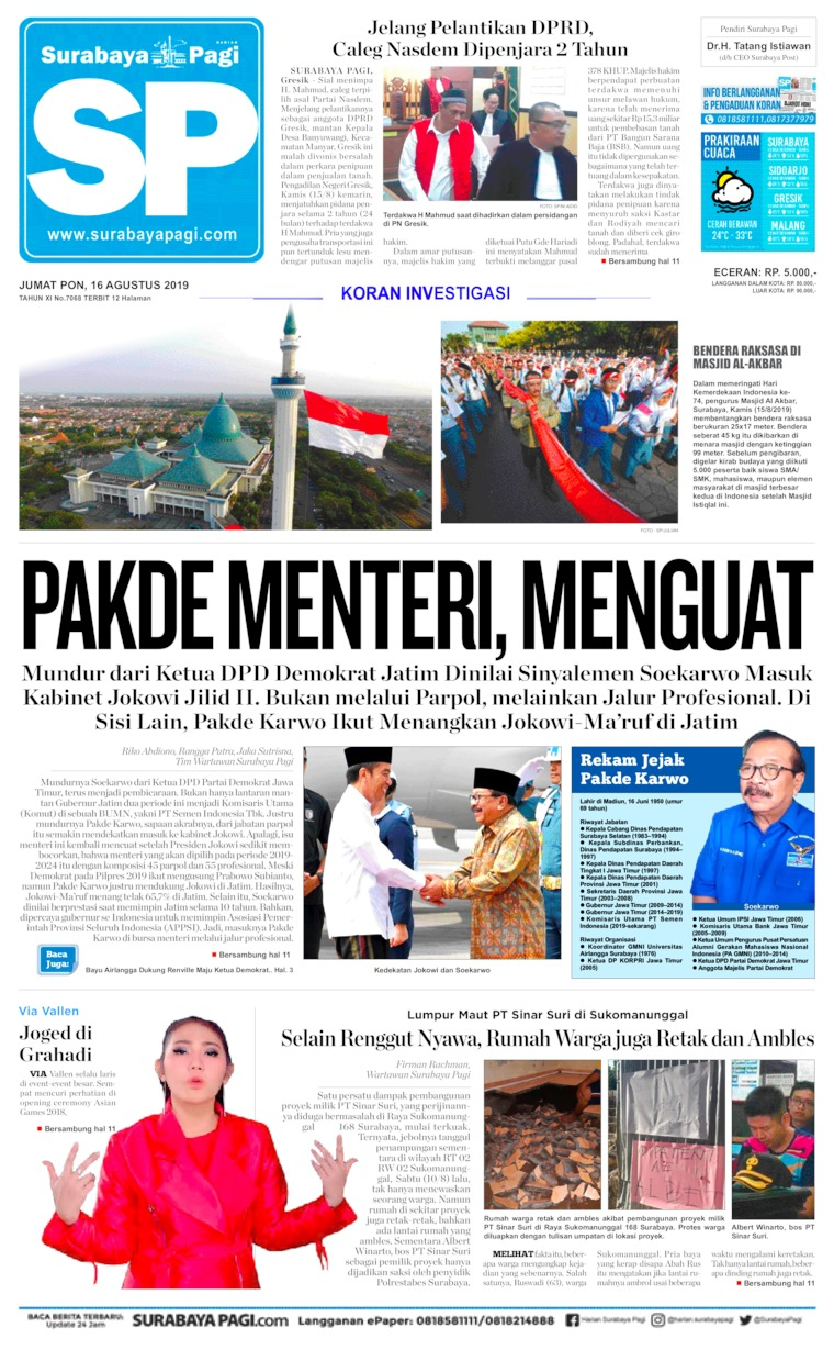 Surabaya Pagi Digital Newspaper 16 August 2019