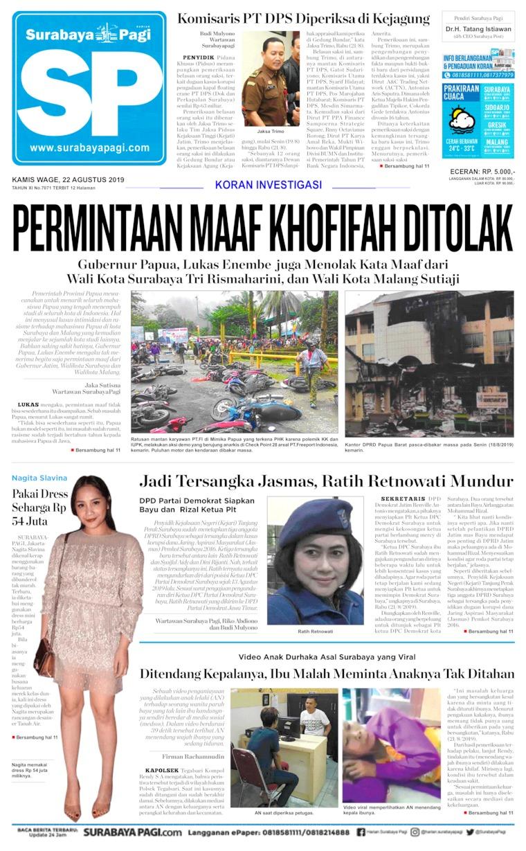 Koran Digital Surabaya Pagi 22 Agustus 2019