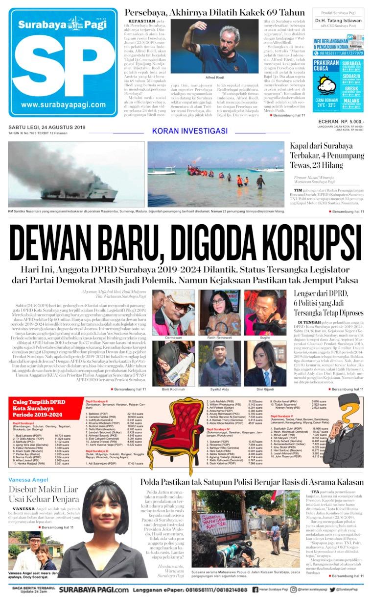 Koran Digital Surabaya Pagi 24 Agustus 2019