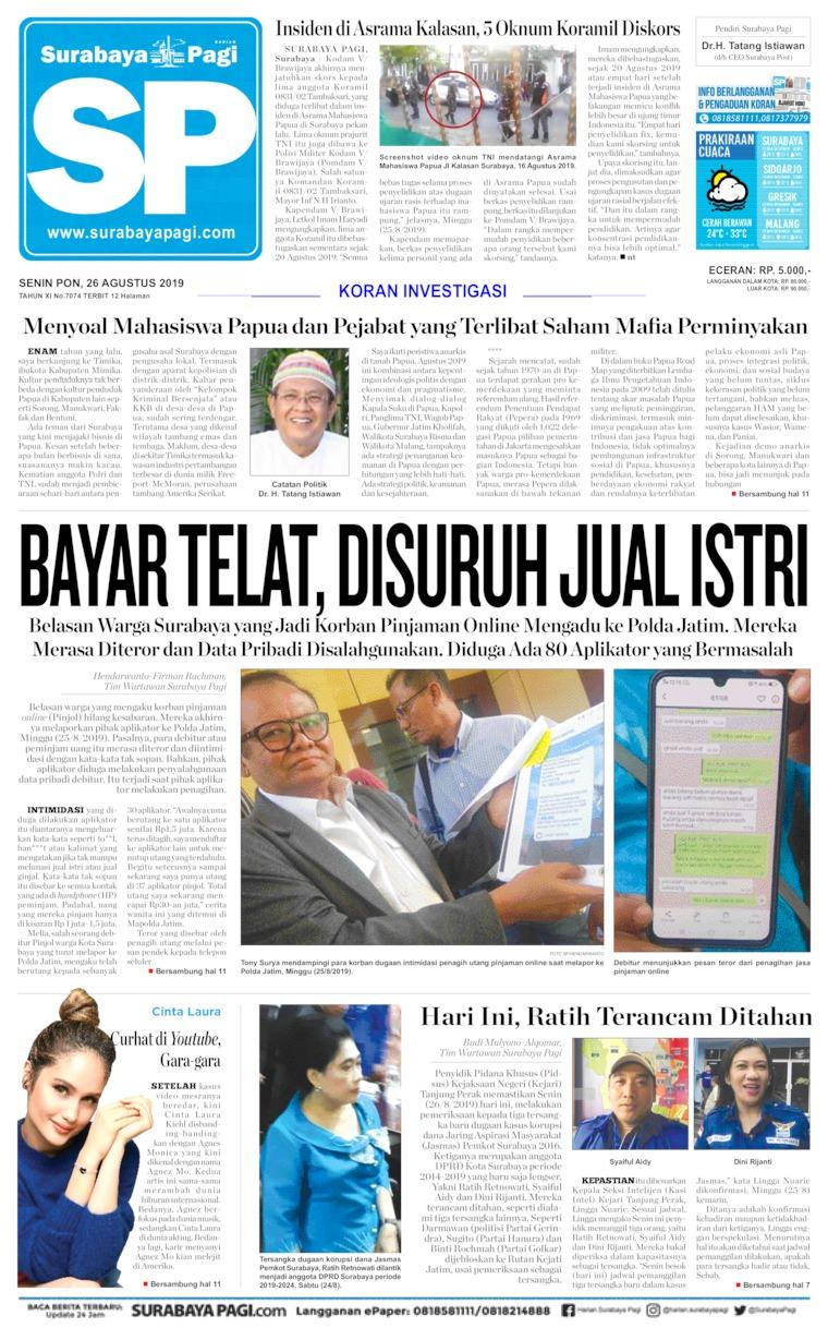 Koran Digital Surabaya Pagi 26 Agustus 2019