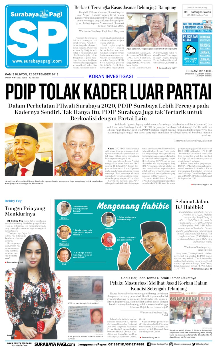 Surabaya Pagi Digital Newspaper 12 September 2019