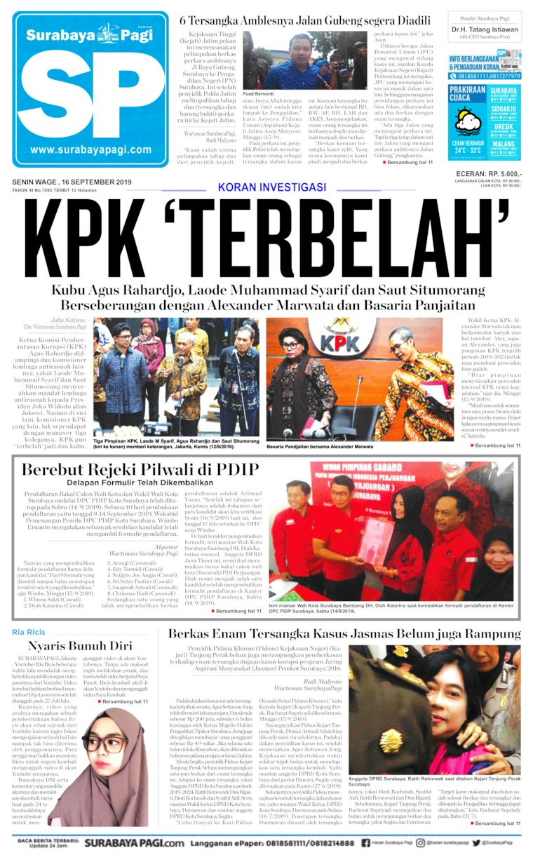 Surabaya Pagi Digital Newspaper 16 September 2019