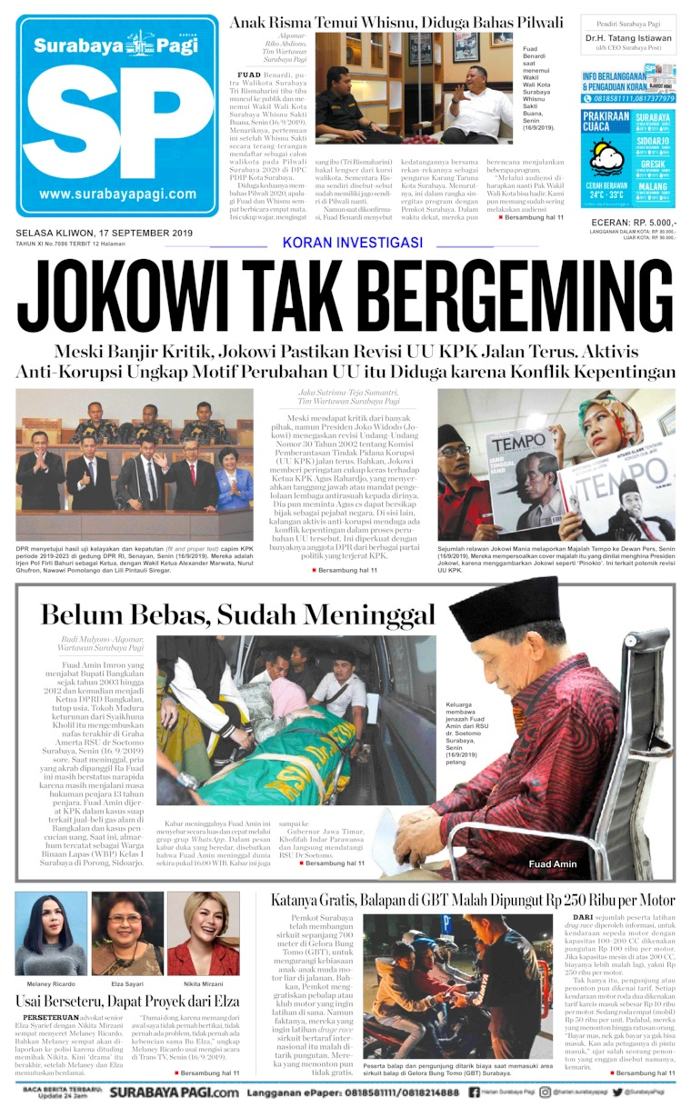 Surabaya Pagi Digital Newspaper 17 September 2019