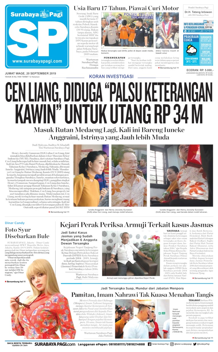 Koran Digital Surabaya Pagi 20 September 2019
